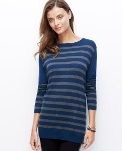 Side Zip Striped Sweater @ Ann Taylor
