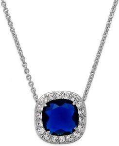 Kate Spade Silver-Tone Crystal-Framed Blue Stone Pendant @ Macy's