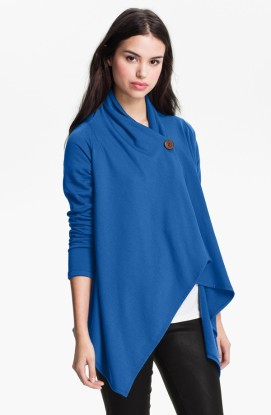 Bobeau Asymmetrical Fleece Wrap Cardigan @ Nordstrom